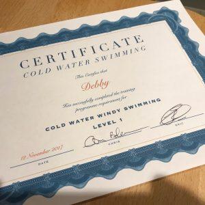 certificaat koud water zwemmen